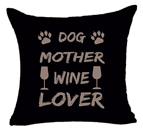 Pillow Designer Dog (Queen's designer Wine Glasses Dog Paw Print Dog Mother Wine Lover Cotton Linen Square Decorative Home Indoor Throw Pillow Case Cushion Cover 18