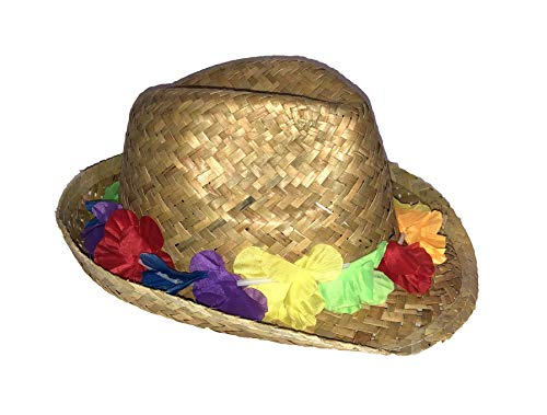 Nikki's Knick Knacks Adult Natural Straw Fedora Hat with Leis -