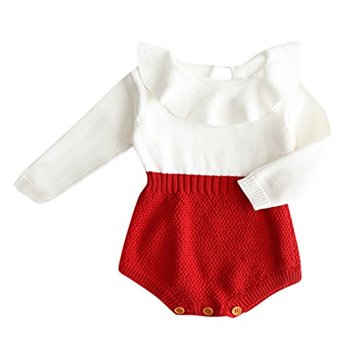 Baby Girl Christmas Outfits Newborn - Eiffel Direct Baby Girls Sweet Knitted Fleece Romper Long Sleeve Ruffles Jumpsuits Sweaters Dress (66/0-3 Months, Red)