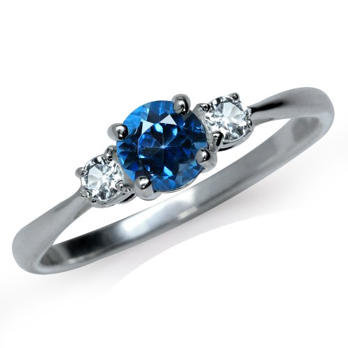 Silvershake Petite Genuine London Blue and White Topaz 925 Sterling Silver Ring Size 4.5 ()