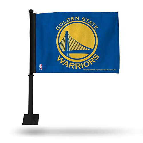 - NBA Golden State Warriors Car Flag, Blue, with Black Pole