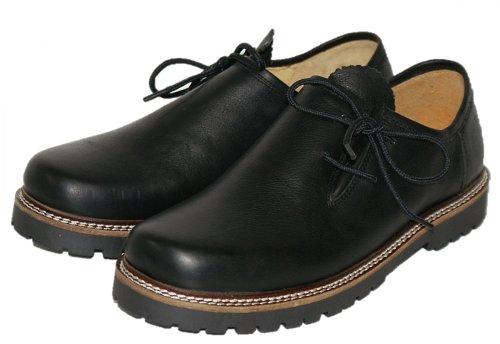 Trachtenschuhe Haferlschuhe Trachten-Schuhe Leder schwarz Gummisohle Schnürschuhe Glattleder Tanzschuhe Lederschuhe Herrenschuhe Profil-Sohle zur Lederhose, Größe:45