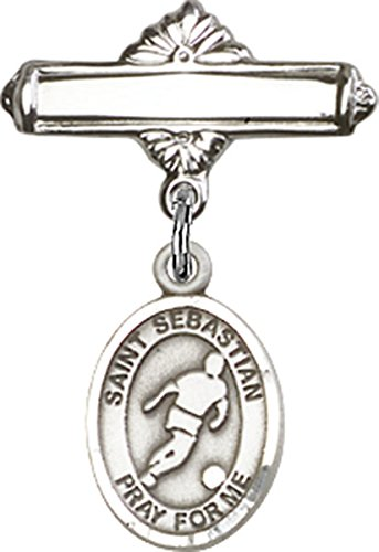 Football Polished - Sterling Silver Polished Baby Bar Pin with Saint Sebastian Soccer Charm, 11/16 Inch