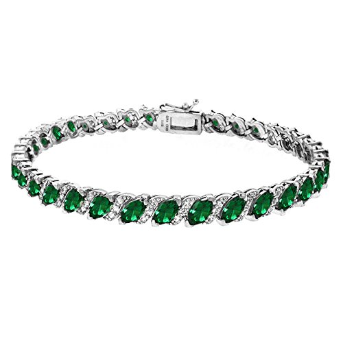 GemStar USA Sterling Silver Simulated Emerald Marquise-cut Tennis Bracelet with White Topaz Accents