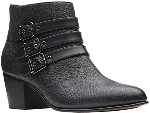 CLARKS Women's Maypearl Rayna Fashion Boot, Black Tumbled Leather, 090 M US (Leather Tumble Black)