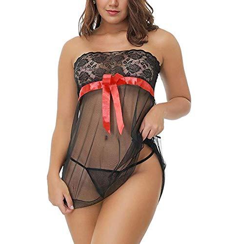 3305dda85 Amazon.com   Leedford Women Plus Size Lingerie Set 2 Piece Corset Lace  Floral Push Up Bra+G-String Babydoll Suit See Through Bodysuit (L