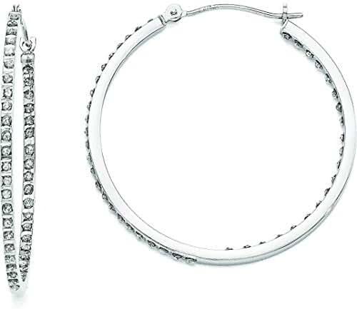 14K White Gold IJ Diamond Hoop Earrings