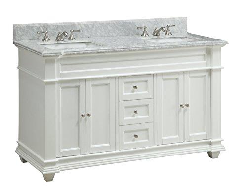 60 Inch Italian Carrara marble top Kendall Bathroom sink vanity cabinet - Model HF085