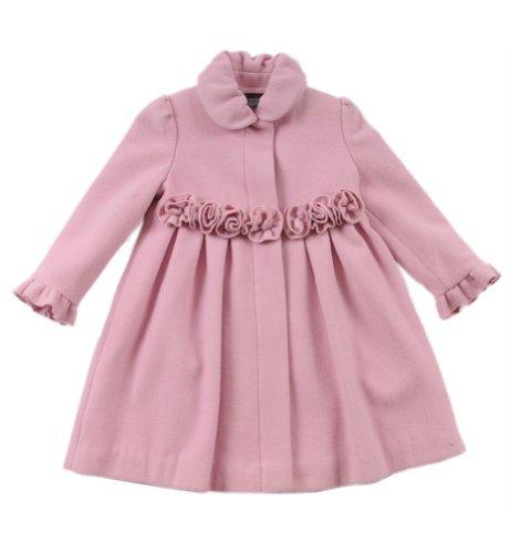 Rothschild Girls Rosette Wool Look Dress Coat - Pink (Size 16) -