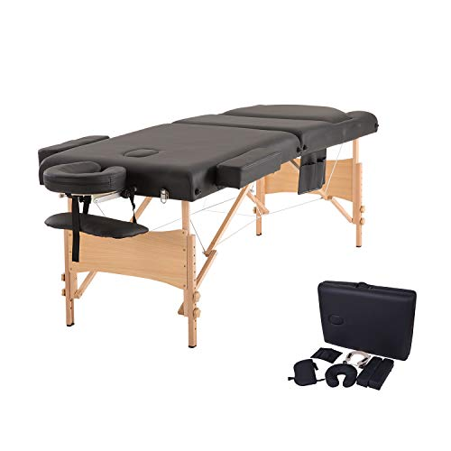 Massage Table 76″ Portable Wood Salon Spa Bed Height Adjustable with Carrying Bag,Black