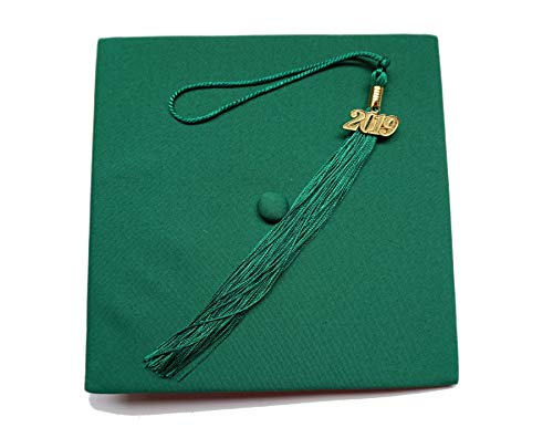 - Grad Days Matte Adult Unisex Graduation Cap With Tassel 2017 Year Charm Forest Green