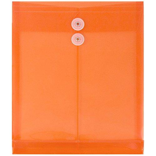 "JAM Paper Plastic Envelopes with 2 Dividers - Button & String Tie Closure - Letter - 12 3/4"" x 10 1/2"" x 1 1/2"" - Bright Orange - 12/pack"