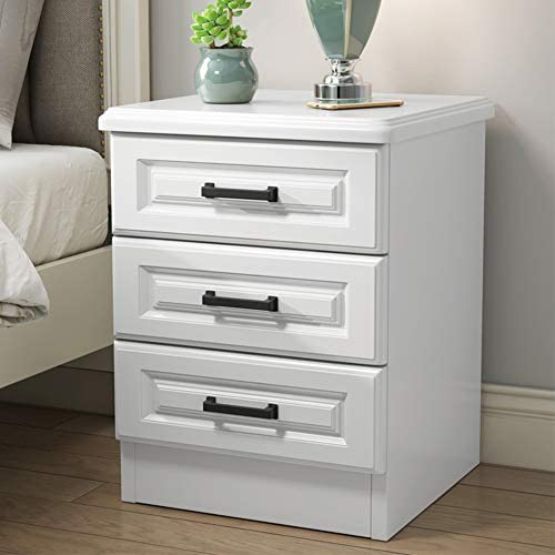 ZPEE Simple Modern White Bedside Drawer,Storage Side Table with Drawer with Handles Nightstand Wooden Furniture Storage Drawer Easy to Assemble H 40x38x58cm