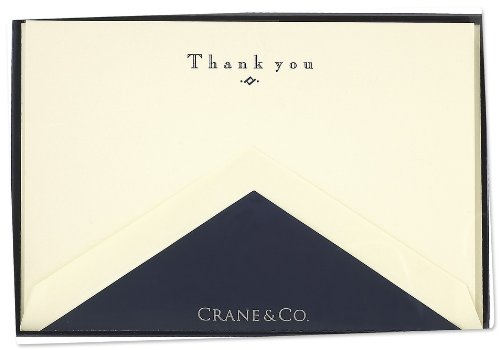 Crane & Co. Navy Hand Engraved<br> Thank You Cards