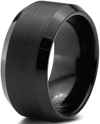Tungsten Wedding Band Ring 10mm for Men Women Comfort Fit Black Beveled Edge Polished Brushed Size 11.5