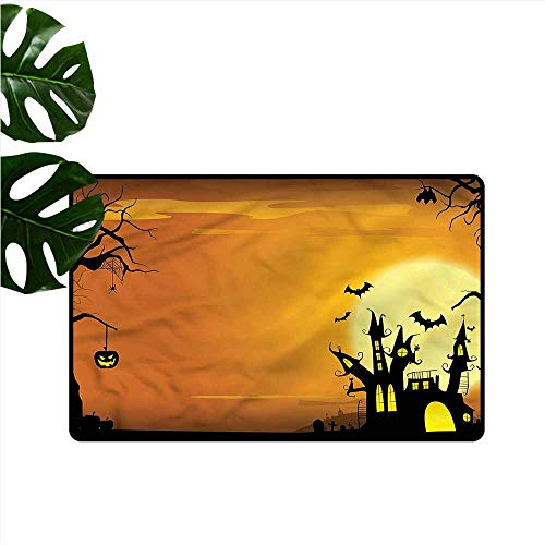 DUCKIL Waterproof Door mat Halloween Haunted House Hard and wear Resistant W35 xL59 -