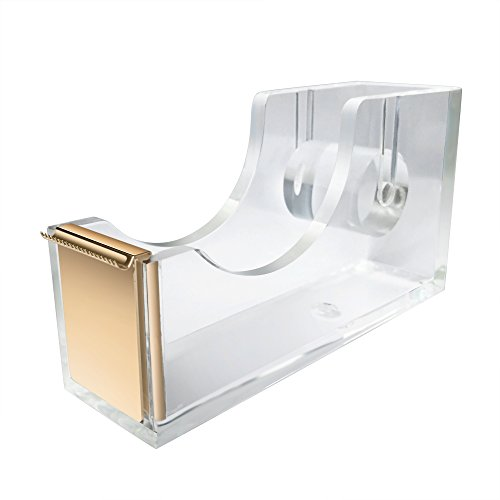 Gold Mint Acrylics (UNIQOOO 5mm Super Thick Clear Acrylic Gold Desk Tape Dispenser Holder, Modern Office Design Accessories)
