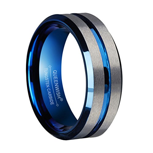 8mm Mens Blue Tungsten Wedding Bands Silver Brushed Matte Grooved Center Promise Rings for Couples,Size 10.5