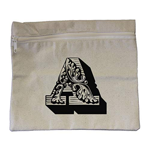 ''A'' Vintage Antique Monogram Letter A Cotton Canvas Zippered Pouch 12''x10'' by Style In Print