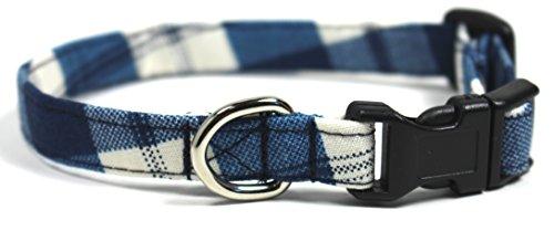 Buffalo Plaid, Blue Gingham Designer Dog Collar, Adjustable Handmade Fabric Collars (XS)