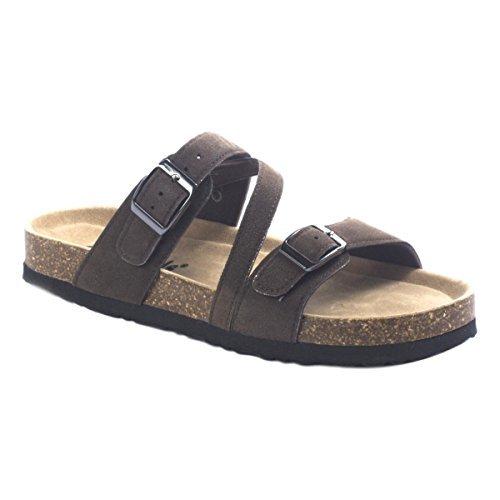 Outwoods Women's Bork 56 Brown Leather Birk Style Slide On Sandal Size: 10, Width: Medium