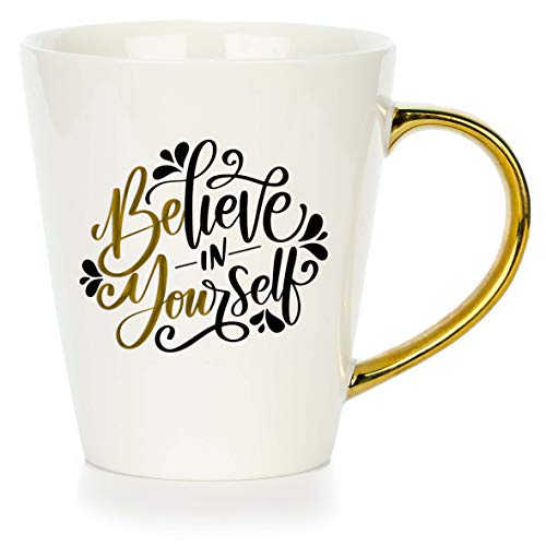 Inspirational Coffee Mugs For Women - Believe in Yourself | Movitavational Ceramic Mug Gift Set with quotes and gold handle for her. Cute birthday or Christmas surprise for Mom, Friends or Coworkers ()