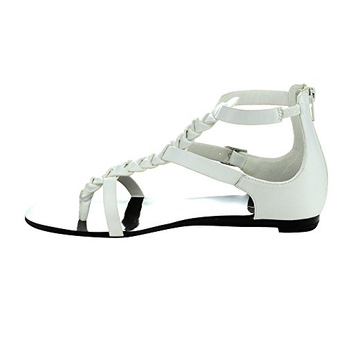 Strap T Womens 6 5 Slingback Heel LABEL Sandals Thong Flat C FLATTY WHITE fwzUy1