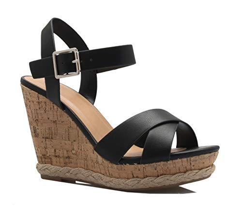 OLIVIA K Women's Open Toe T-Straps Strappy High Wedge Heel Wood Decoration Buckle Shoes Sandals Black