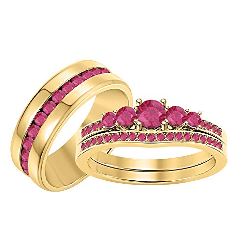 RUDRAFASHION 5-Stone Round Cut Ruby 14K Yellow Gold Plated Engagement Wedding Trio Bridal Ring Set for Him & Her
