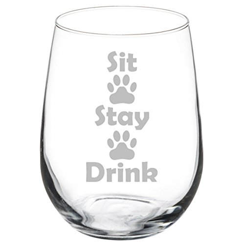 Wine Glass Goblet Funny Dog Cat Animal Lover Sit Stay Drink Paw Prints (17 oz Stemless)