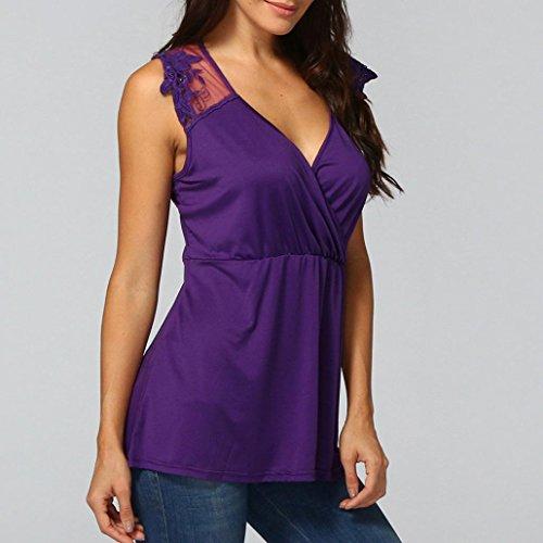 Pas Chemisier pissure Femme Et Appliqu Taille Violet Sexyville Shirt Vest Mode Grande Chic Cher Dentelle Gilet Manche T Dbardeur sans Bv1zvP
