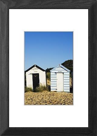 Con Marco de casetas de playa, southwoid, Suffolk, Inglaterra, Reino Unido,
