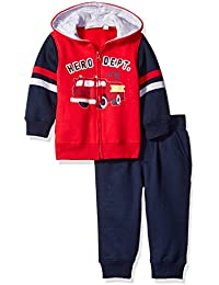 Kids Headquarters Baby Boys' 2 Pieces Hooded Fleece Pants Set