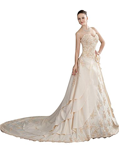 Beauty-Emily Maxi A-Line Strapless Flower Layered Lace-Up Sweetheart Neckline Sleeveless Women Bridal Gowns Dresses Color Champagne,Size US10 by Beauty-Emily
