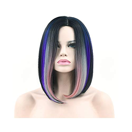 11 Colors Black to Pink Natural Ombre Hair Straight Bob Wigs Synthetic Hair Short Party Hair Cosplay Wig for Women ()