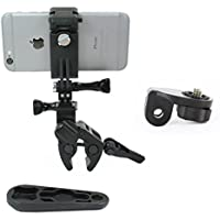 Action Mount - Sportsman Clamp + Locking Smartphone Mount for Video Recording on Gun, Bow, ATV, or Fishing Pole. Includes Wrench. (Sportsmans Black)