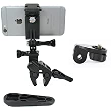 Action Mount - Sportsman Clamp + Locking Smartphone Mount for Video Recording on Gun, Bow, ATV, or Fishing Pole. Includes Wrench. (Sportsman's Black)