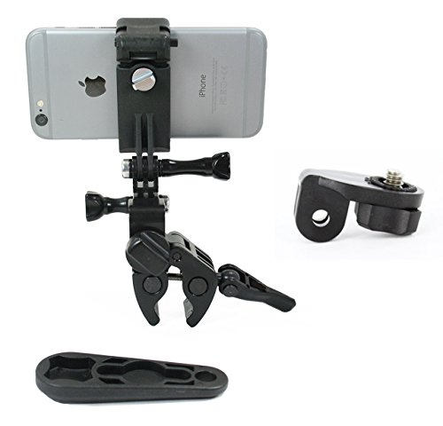 Action Mount - Sportsman Clamp + Locking Smartphone Mount for Video Recording on Gun, Bow, ATV, or Fishing Pole. Includes Wrench. (Sportsman