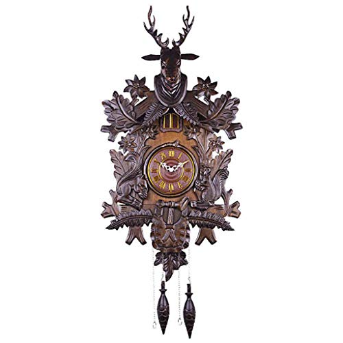 JSHFD Wall Clock Large Deer Handcrafted Wood Cuckoo Clock Light Control Induction Hourly Time Quartz Clock Home Decor