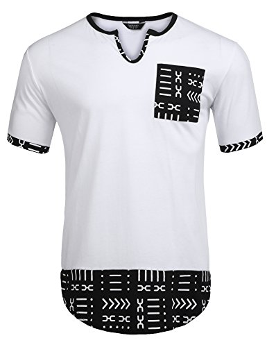 COOFANDY Mens Hipster Hip Hop Aztec Graphic Print Longline T-Shirt Stylish Designs V Neck Tee Shirt