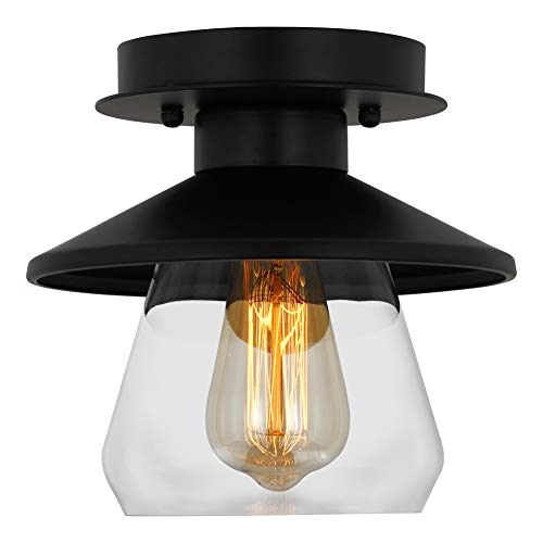 (T&A Semi Flush Mount Ceiling Light with Matte Black Finish, Stylish Modern Style Home Decoration Lighting Fixture(Clear Glass))