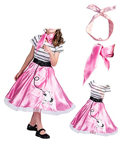 4-12years Old Girls 1950's Pink Poodle Dress and Scarf Costume Evening Wear for Party -