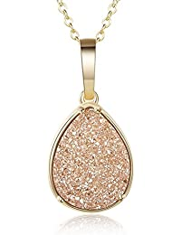 Teardrop Drusy Necklace - Gold Plated Druzy Pendant Necklace For Women