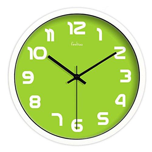 Wall Clock WERLMWanduhr CreativeWohnzimmer Uhr Tisch ideal für Jede Art von Zimmer im Haus Esszimmer Küche Büro Schule, 10 Zoll (φ 25,5 cm), weißer Rahmen