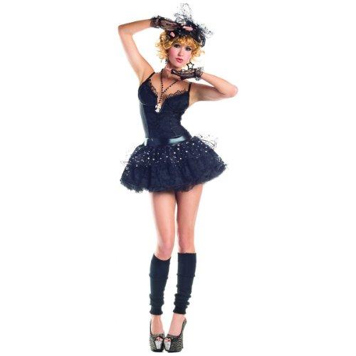 Party King Material Pop Star Women's 4 Piece Costume Dress Set, Black, X-Large
