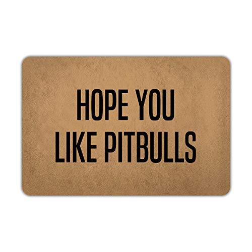 (Joelmat Hope You Like Pitbulls Entrance Non-Slip Outdoor/Indoor Rubber Door Mats for Front Door/Garden/Kitchen/Bedroom)