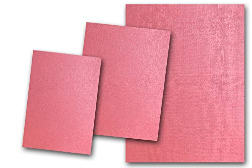 (Premium Pearlized Metallic Textured Fruit Punch Pink Card Stock 80 Sheets - Matches Martha Stewart Fruit Punch - Great for Scrapbooking, Crafts, Flat Cards, DIY Projects, Etc. (5 x 7))