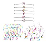 YeahiBaby 30pcs Unicorn Key Chains Bracelets Wristband Necklaces Unicorn Birthday Party Bag Fillers (Random Style)