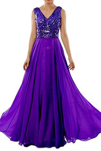 MACloth Women V Neck Sequin Chiffon Long Bridesmaid Dress Formal Evening Gown (18w, Purple)