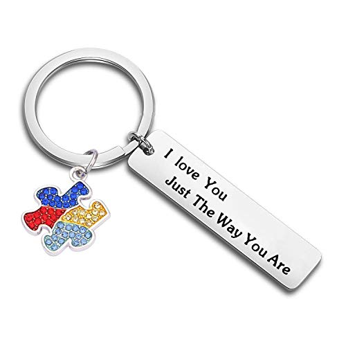 CHOROY I See Your True Colors That's Why I Love You Autism Awareness Keychain Asperger Keychain Inspirational Gift for Autistic (I Love You just The Way You are) ()